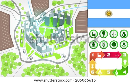 environmental city map and icons set with Argentina flag vector illustration - stock vector