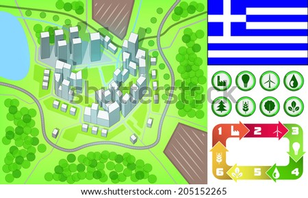 environmental city map and icons set with Greece flag vector illustration - stock vector
