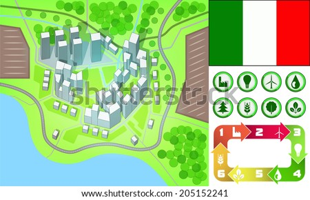 environmental city map and icons set with Italy flag vector illustration - stock vector
