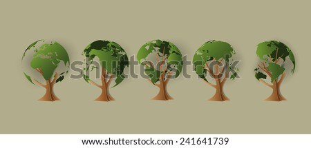 Environmental concept. Tree forming the world paper art style. - stock vector