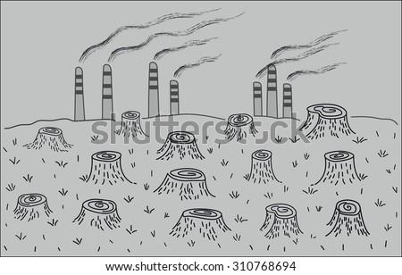 Environmental disaster deforestation environmental pollution stock vector 2018 310768694 shutterstock