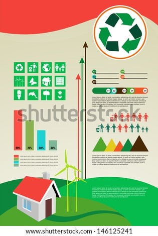 environmental elements and infographic - stock vector