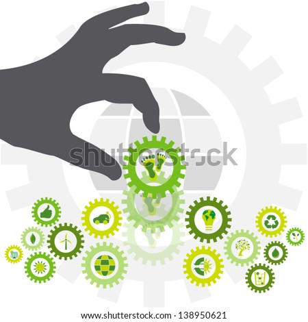 Environmental footprint placed in a chain of bio eco icons by the silhouette of a hand making the world a sustainable place - stock vector