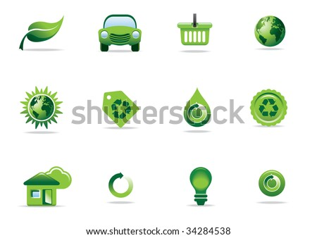 Environmental green icons and symbols - editable vector illustrations - stock vector