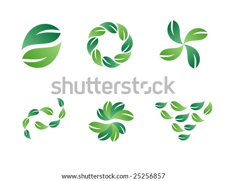 Environmental Green Leaf Vector Design Elements - stock vector
