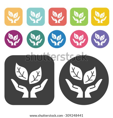Environmental hands icons set. Vector Illustration eps10