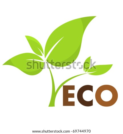 Environmental icon with eco plant. Vector illustration - stock vector