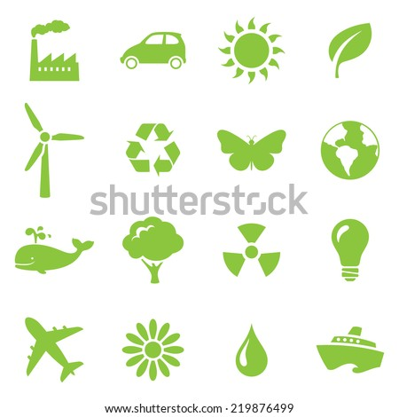 Environmental icons. Gradient free and easy to change color. - stock vector