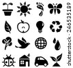 Environmental Icons - Set of black icons with different symbols of the green movement.  Each icon is grouped individually for easy editing. - stock photo