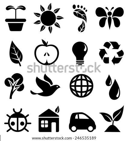 Environmental Icons - Set of black icons with different symbols of the green movement.  Each icon is grouped individually for easy editing. - stock vector