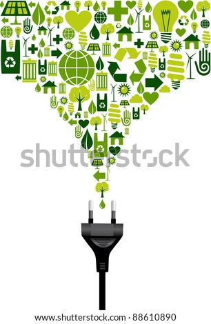 Environmental icons set splash in green from electric power plug wire on white background.  Vector file.