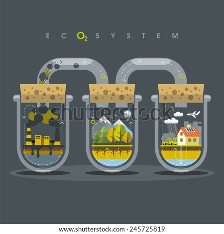 Environmental illustration delicate balance and depending on the nature of human - stock vector
