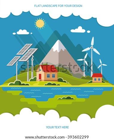 Environmental Landscape Cottages Mountains Background Solar Stock
