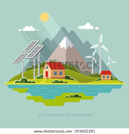 Environmental landscape cottages mountains in the background. Solar and wind energy. Environmental protection.  Flat design style vector illustration. - stock vector