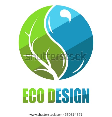 Environmental leaves and water icon. Vector eco icon, logo, label, badge - stock vector