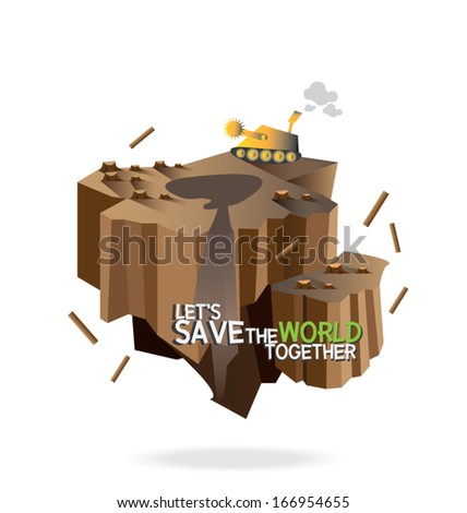 environmental pollution, Let's Save the world together concept.vector illustration, - stock vector