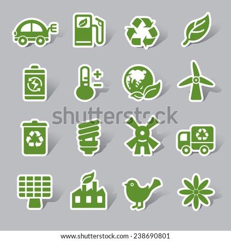 Environmental Protection Color Icon Label - stock vector