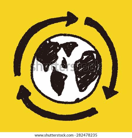 Environmental protection concept; Doing recycle to protect our environment; recycled garbage; doodle - stock vector