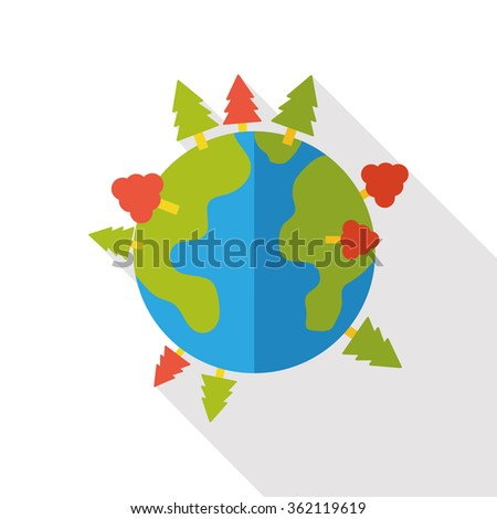 Environmental protection concept flat icon; Protect our earth