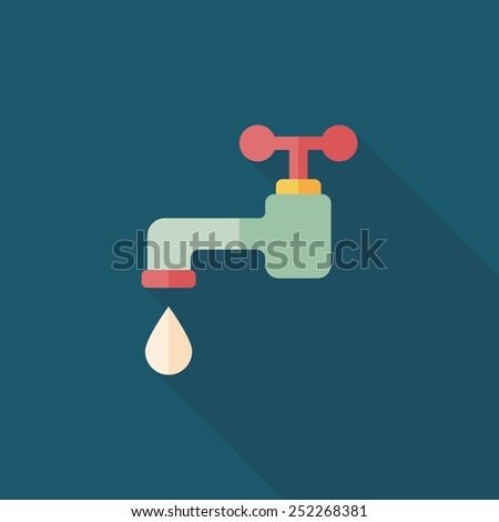 Environmental protection concept flat icon with long shadow,eps10; Conserve water, protect the environment. - stock vector