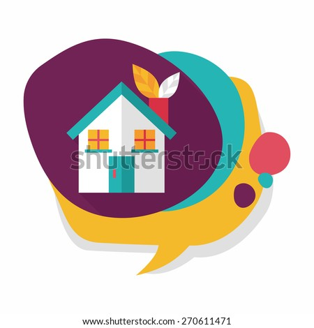 Environmental protection concept flat icon with long shadow,eps10; greenhouses; green house - stock vector