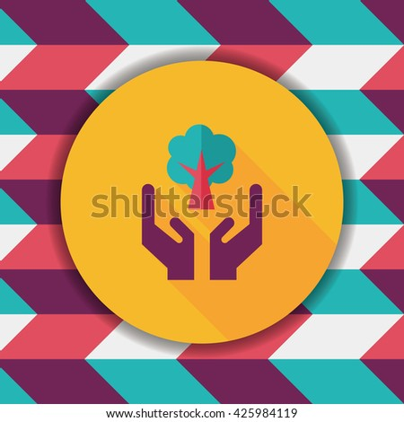 Environmental protection concept flat icon with long shadow,eps10; Protect our forests and ecological plant. - stock vector