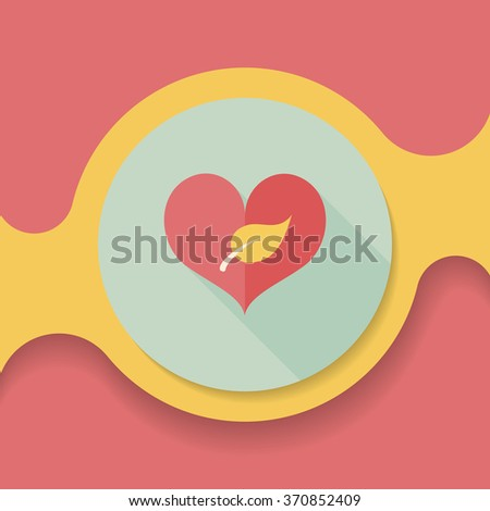 Environmental protection concept flat icon with long shadow,eps10; Sincerely protect our environment; heart concept