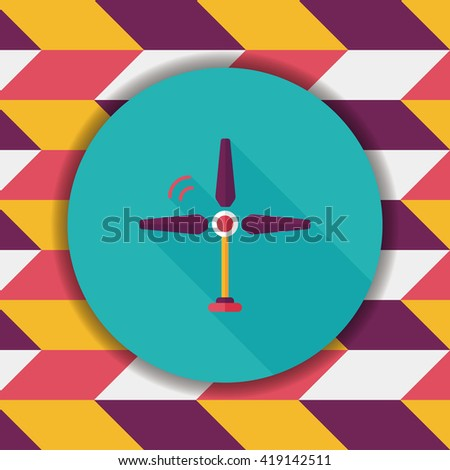 Environmental protection concept flat icon with long shadow,eps10; wind energy; saving energy; renewable energy - stock vector