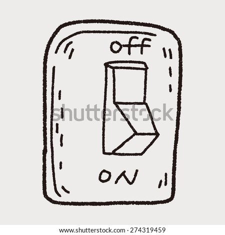 Environmental protection concept; Saving energy, turning off lights; doodle - stock vector