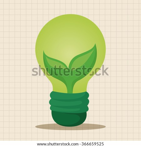 Environmental protection concept theme elements; Saving energy, turning off lights - stock vector