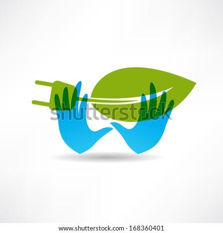 Environmental socket blue hands icon - stock vector
