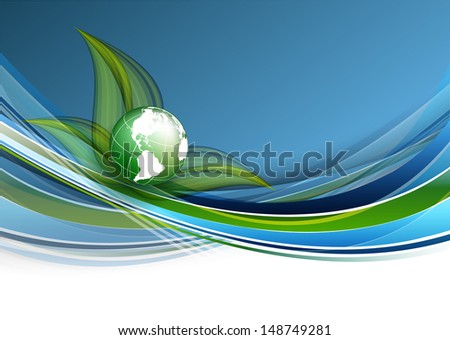 environmental vector concept  with  globe and lines. Eps10 - stock vector