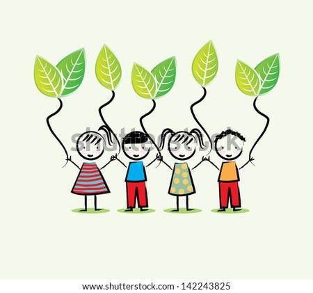 environmentalists children over white background vector illustration - stock vector