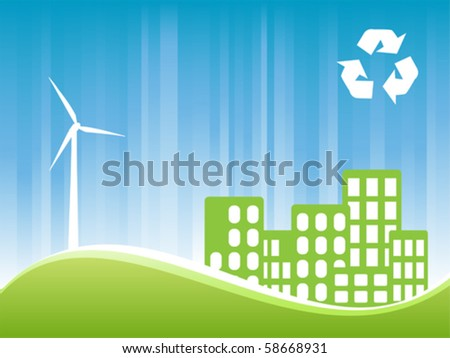 Environmentally conscious eco friendly town - stock vector