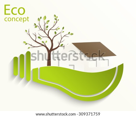 Environmentally friendly world. House, a tree in a light bulb. Vector illustration of ecology the concept of infographics modern design. Ecological concepts. - stock vector