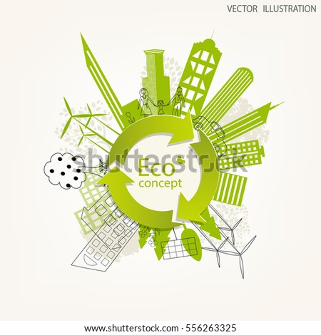 Environmentally friendly world. The city, solar panels, a windmill, a tree on the globe. Vector illustration of ecology the concept of info graphics modern design. The icon, sign. Ecological concepts