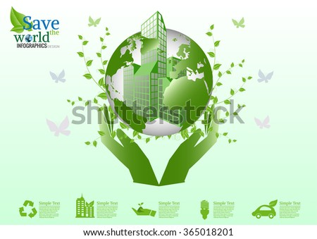 Environmentally friendly world with hands holding  beautiful earth. Vector ecology concepts