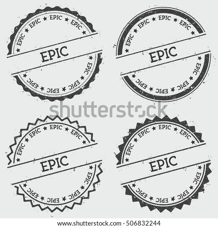 Epic insignia stamp isolated on white stock vector 506832244 epic insignia stamp isolated on white background grunge round hipster seal with text ink voltagebd Image collections