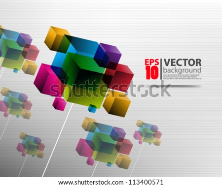 eps10 abstract vector design, cubes on chrome background - stock vector