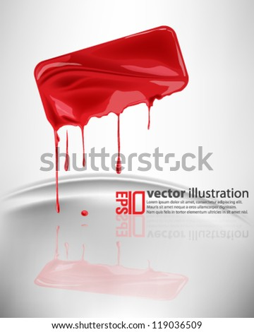 eps10 abstract vector design - dripping red ink on isolated background - stock vector
