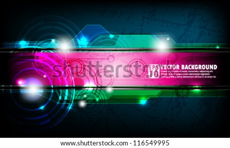 eps10 abstract vector design - futuristic gears with transparent panels - stock vector