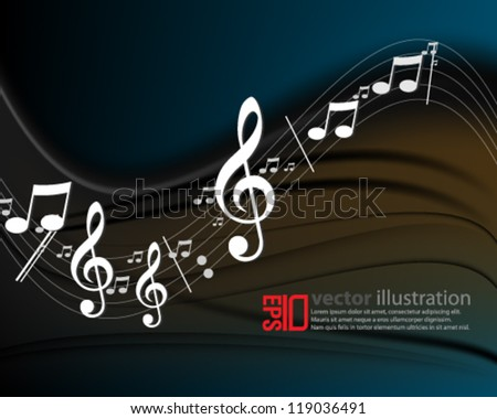 eps10 abstract vector design - G-clef and musical notes on a wave pattern concept - stock vector