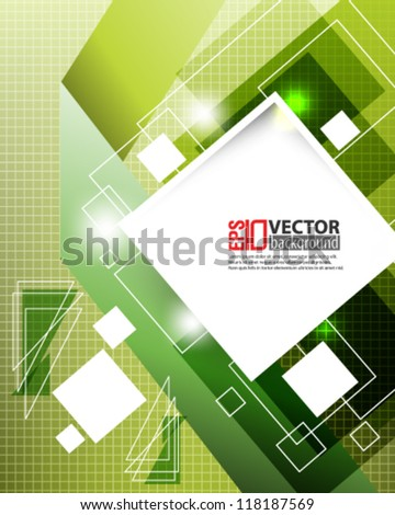 eps10 abstract vector design - geometric shape with green background illustration - stock vector