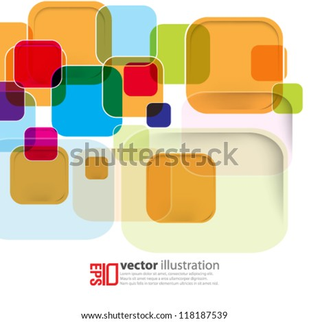 eps10 abstract vector design - multicolor square illustration - stock vector