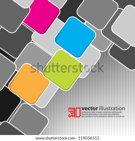 eps10 abstract vector design - multicolor square on isolated background - stock vector