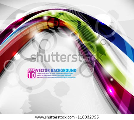 eps10 abstract vector design - multicolor wave with circles concept - stock vector
