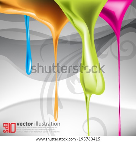 eps10 abstract vector design - multicolored dripping paints design - stock vector