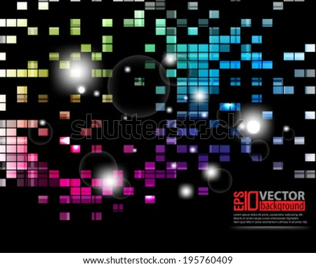 eps10 abstract vector design - multicolored futuristic geometric concept on black background - stock vector