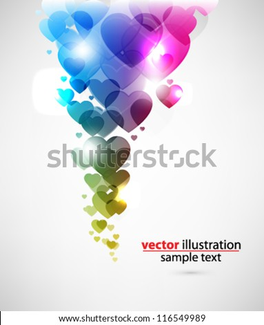eps10 abstract vector design - multicolored hearts on isolated background - stock vector