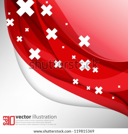 eps10 abstract vector design - red wave background concept - stock vector
